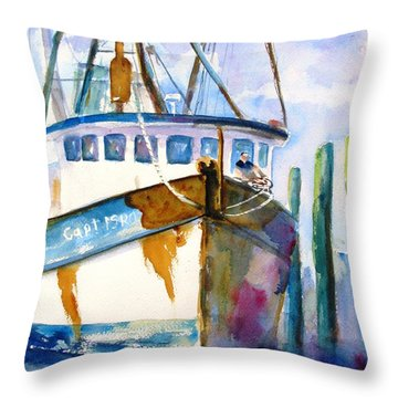 Shrimp Boat Isra Throw Pillow