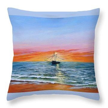 Shrimp Boat Throw Pillow