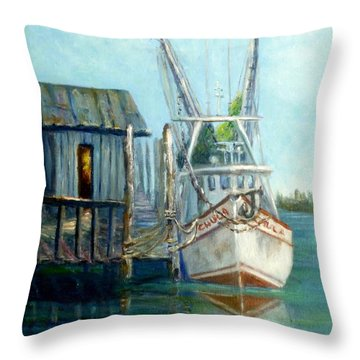 Shrimp Boat Paintings Throw Pillow