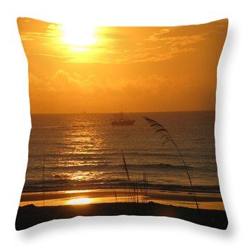 Shrimp Boat Sunrise Throw Pillow by Ellen Meakin
