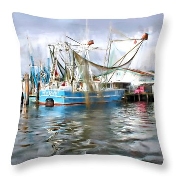 Shrimp Boats At Aquila Seafood Throw Pillow by Lynn Jordan