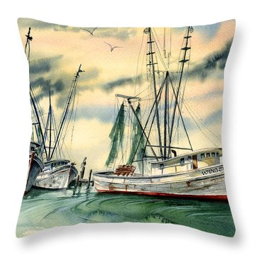 Shrimp Boats In The Keys Throw Pillow