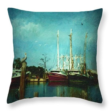 Shrimp Boats Is A Comin Throw Pillow by Lianne Schneider