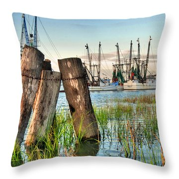 Shrimp Dock Pilings Throw Pillow