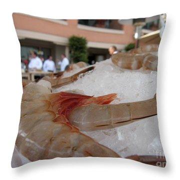 Shrimp On Ice Throw Pillow