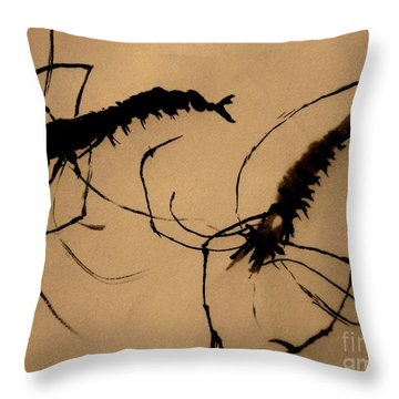 Throw Pillow featuring the painting Shrimps by Katy Mei