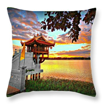 Shrine On The Lake. Throw Pillow