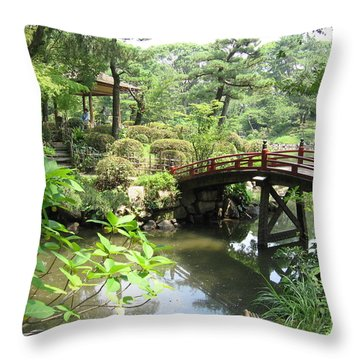 Shukkeien Bridge Throw Pillow