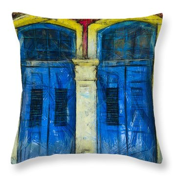 Throw Pillow featuring the photograph Shutter Doors In Lil India by Joseph Hollingsworth