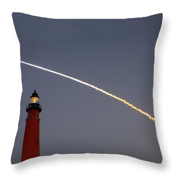 Throw Pillow featuring the photograph Shuttle Discovery Liftoff Over Ponce Inlet Lighthouse by Paul Rebmann