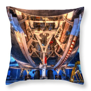 Shuttle Discovery Nose Gear And Bay Throw Pillow