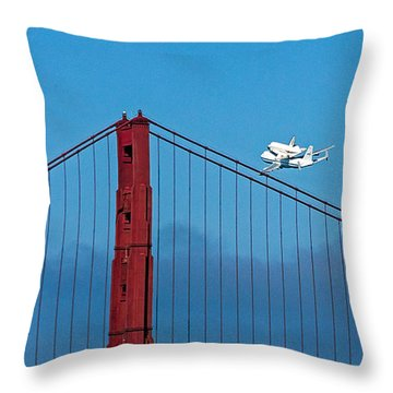 Shuttle Endeavour At The Golden Gate Throw Pillow