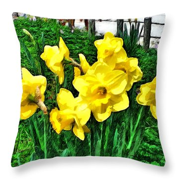 Shy Daffodils  Throw Pillow