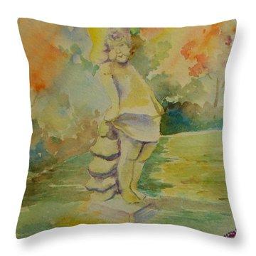 Shy Garden Angel Throw Pillow