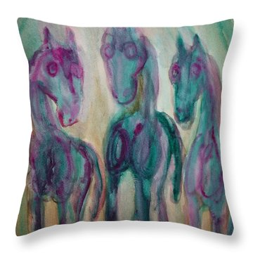 Green Horses Are Shy But Curious  Throw Pillow