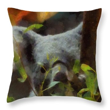 Shy Koala Throw Pillow