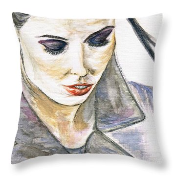 Shy Lady Throw Pillow by Teresa White