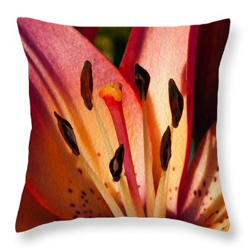 Shy Pink Lily Throw Pillow by Omaste Witkowski