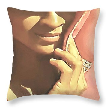 Throw Pillow featuring the painting Shy by Sophia Schmierer