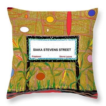 Throw Pillow featuring the digital art Siaka Stevens Street - Sierra Leone by Mudiama Kammoh