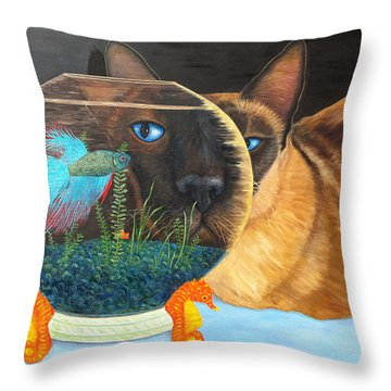 Throw Pillow featuring the painting Siam I Am by Karen Zuk Rosenblatt
