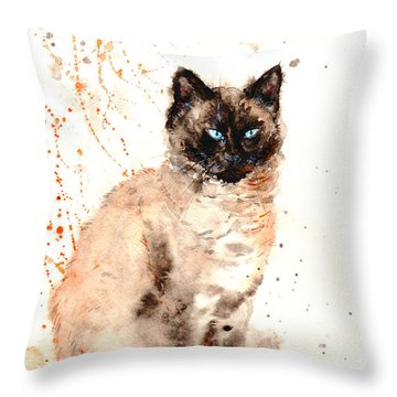 Siamese Beauty Throw Pillow by Zaira Dzhaubaeva