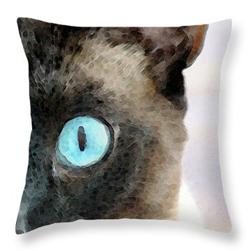 Siamese Cat Art - Half The Story Throw Pillow by Sharon Cummings