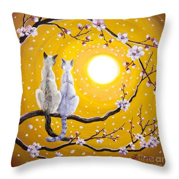Siamese Cats Nestled In Golden Sakura Throw Pillow by Laura Iverson