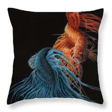 Siamese Fighting Fish Two Throw Pillow