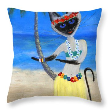 Siamese Queen Of Hawaii Throw Pillow by Jamie Frier
