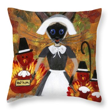 Siamese Queen Of Thanksgiving Throw Pillow by Jamie Frier