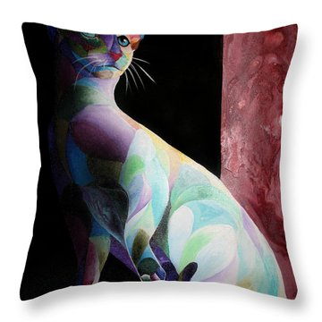 Siamese Shadow Cat 1 Throw Pillow