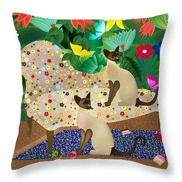 Siameses En Chaise Con Flores Limited Edition 2 Of 15 Throw Pillow