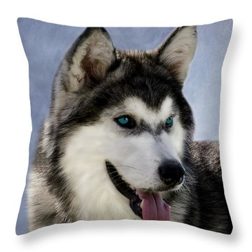 Siberian Husky Throw Pillow by Linsey Williams