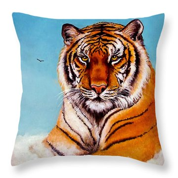 Throw Pillow featuring the painting Siberian King Tiger by Bob and Nadine Johnston