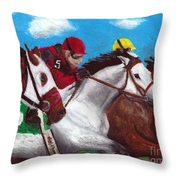 Siberian Princess Thoroughbred Racehorse Filly Throw Pillow