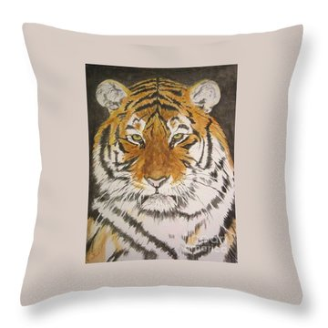 Siberian Tiger Throw Pillow by Regan J Smith