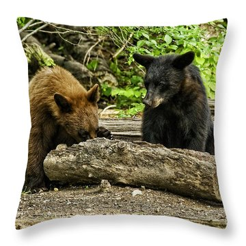 Sibling Lunch Throw Pillow