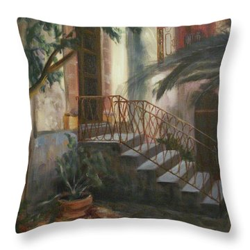 Throw Pillow featuring the painting Sicilian Nunnery by Donna Tuten
