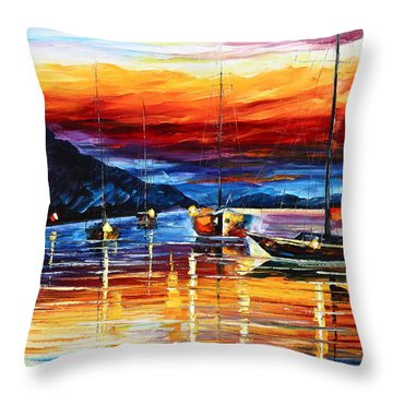 Sicily Messina Throw Pillow by Leonid Afremov