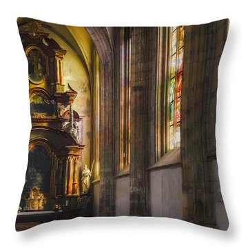 Side Chapel Of St Barbara Throw Pillow by Joan Carroll