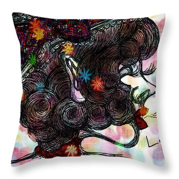 Side Face Lady Throw Pillow