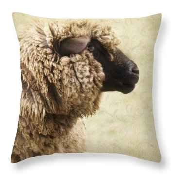 Side Face Of A Sheep Throw Pillow by Priska Wettstein