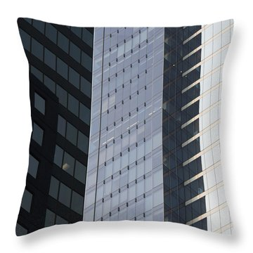 Side Of An Office Towers With Glass Throw Pillow by Keith Levit