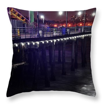 Side Of The Pier - Santa Monica Throw Pillow by Gandz Photography