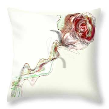 Side Rose Throw Pillow