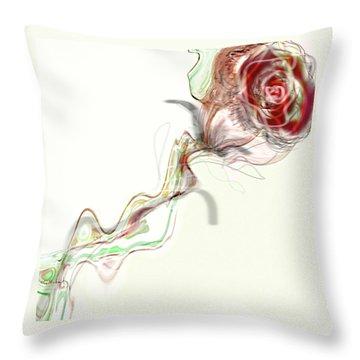 Throw Pillow featuring the digital art Side Rose by Gabrielle Schertz