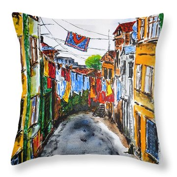 Side Street Throw Pillow by Zaira Dzhaubaeva