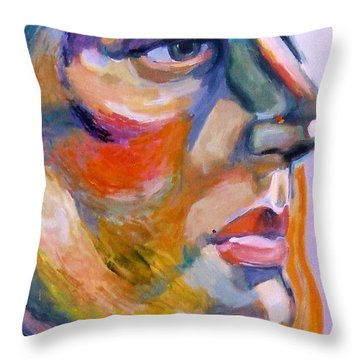 Sideview Of A Woman Throw Pillow by Stan Esson