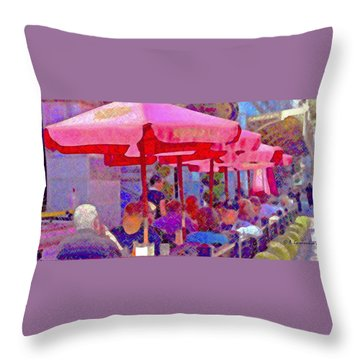 Sidewalk Cafe Digital Painting Throw Pillow